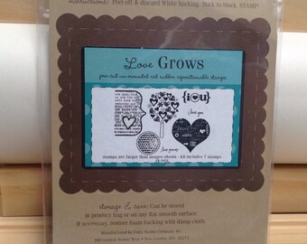 LOVE GROWS Unity Stamp Company red rubber unmounted cling stamp set Unused