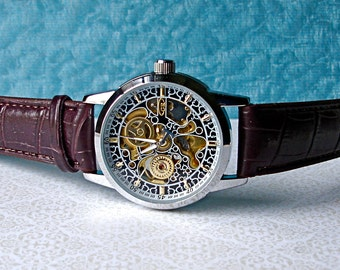 Automatic Mechanical Wrist Watch Vintage Filigree  Silver Trim Brown Custom Leather Band Steampunk