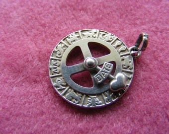 J) Vintage Sterling Silver Charm Rare Zodica Dial Moves
