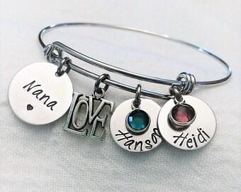 Personalized Nana Bracelet, Nana Bangle, Nana Jewelry, Grandma Jewelry, Grandma Bracelet, Grandma Bangle, Gift for Grandma, Mother's Day