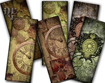 "Printable bookmarks ""Steampunk Victorian Bookmarks"" Digital Collage bookmarks Collage Sheet Instant Download gift Tags Jewelry Digital S_007"