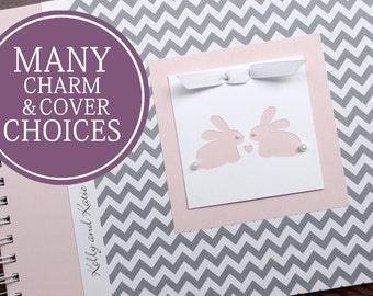 TWIN Baby Book | Twin Baby Album & Photo Book | Pregnancy Gift for Twins | Twin Bunnies | Gray Chevron + Pink