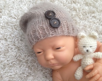 Newborn knit slouch hat,photo prop,gift,boy,girl,crochet
