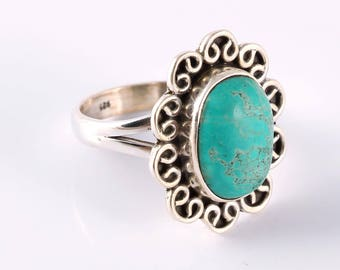 Turquoise 92.5 sterling silver ring size 6 us