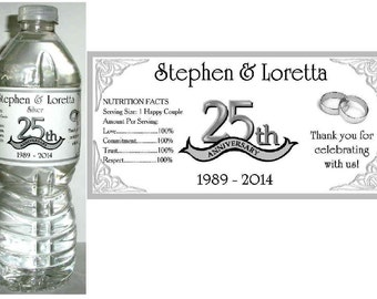 20 ~ 25th SILVER ANNIVESARY party favors water bottle labels ~ glossy ~ waterproof ink ~ Free Shipping