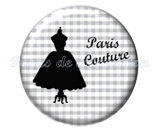 1 cabochon 25mm round glass, fashion, paris