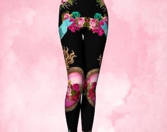 Yoga Pants, Womens Leggings, Catholic art, Sacred heart, heart Milagro, Immacuate heart, flaming corazon, pink black, pink turquoise, gift