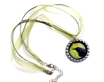 Crow Organza Ribbon Necklace, Bottle Cap Green Black Crow Necklace with Organza Ribbon, Avocado Green Organza Ribbon Crow Choker Necklace