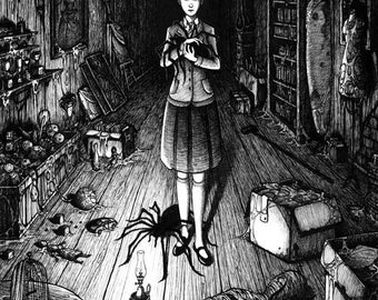 Spiders in the attic - ink drawing