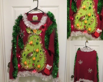 """Hilarious Partridge in a """"Pear"""" Tree Tacky Ugly Christmas Sweater Light UP  Mens Garland, Pears size S, M, L, XL, XXl, 3x, Made to Order"""