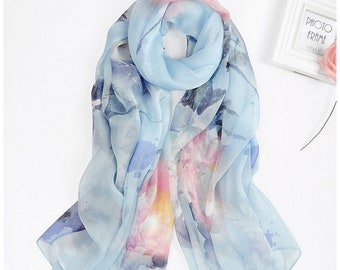Floral Silk Beach Wrap | Baby Blue Silk Scarf | Beachwear Sarongs | Large Beach Cover up | Romantic Floral Scarf |  Cute Gifts For Her