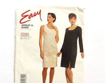 Easy Stitch 'n Save by McCall's 2280, Women's Dress Pattern, Sheath Dress, Easy Pattern, Size 16, 18, 20, 22, Plus Size Pattern, Uncut