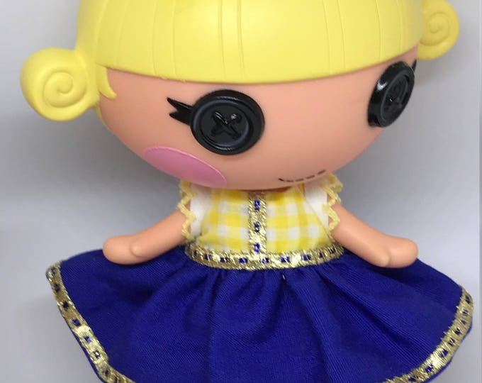 Handmade Dress for Lalaloopsy Little Doll // Little Sister // Doll Clothes // Stocking Stuffer // Under 10 // For Girls // Yellow Blue