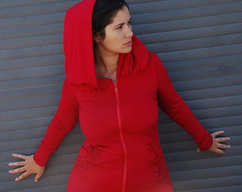 Long hooded Jacket Dress with unique designed Kangaroo front pockets
