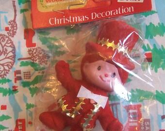 red little flocked boy ornament