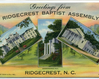 Greetings From Ridgecrest Baptist Assembly North Carolina 1942 linen postcard
