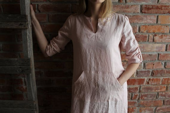 Linen to Linen Washed Womens Ready Caftan ship dress Long Linen Djellaba fit Linen Robe Sleeve Pink Smock Medium Caftan Linen Loose Long 7qdEApd