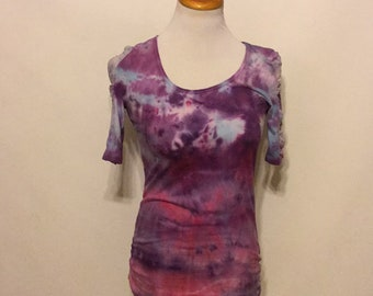 Hand Dyed Tie Dyed lace Insert Short Sleeve scoop neck tee shirt
