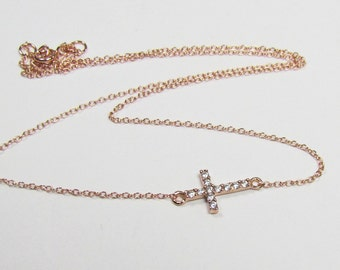 Rose Gold Sideways Cross Necklace with Simulated Diamonds - Kelly Ripa Celebrity Cross