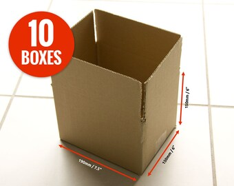 "10 x Small Cardboard Boxes - 190 x 150 x 150mm (7.5 x 6 x 6"") - Strong Mailing Boxes for Packing your Products - Corrugated Packing Boxes"