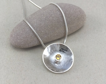 Textured Silver and Citrine Necklace, Hammered Silver Circle Citrine Necklace Silver Dome Pendant, Silver Necklace November Birthstone