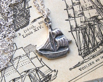 Ship necklace, Vintage Galleon ship, Sterling silver, Mens pendant, Ship charm, Mens necklace, For her, Sailing necklace, Sailor, Pirate