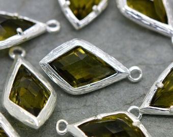 Diamond Jewel Charms OLIVINE Faceted Glass Sterling Silver Plated Setting Drop Gem Jewels 20mm Diamond Bezel Stone (AX063)