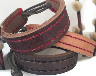 Adjustable leather cuff bracelet with hand stitched detail