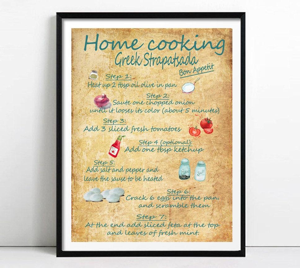 recipe print Kitchen wall art Greek Recipes print breakfast