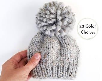 Knit Baby Hat, Knit Pom Pom Hat, Newborn Pom Pom Hat, Pom Pom Hat, Baby Boy Hat, Baby Hat, Baby Beanie, Toddler hat, Newborn Photo Prop Boy