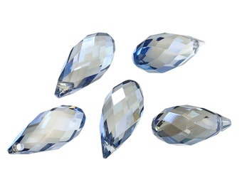 """20 pcs Blue Transparent Crystal Glass Faceted Teardrop Beads - 17 X 8mm (0.7"""" x 0.3"""")"""