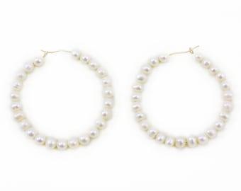 Pearl Hoop Earrings, Freshwater Pearls, Real Pearl Earrings, Pearl Hoops, Gold Hoop Earrings, Large Hoops, Statement Pearl Earrings