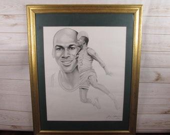 Vintage Michael Jordan Framed Sketch Signed by Gary Saderup, 1992 ORIGINAL