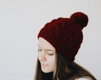 The CECILIA Hat ~ Handknit Women's Hat / Burgundy Pom Pom Beanie / Cabled Chunky Hat / Knit Winter Hat Accessory