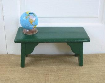 Vintage Green Stool, Wood Stool, Vintage Bench, Primitive Rustic Stool