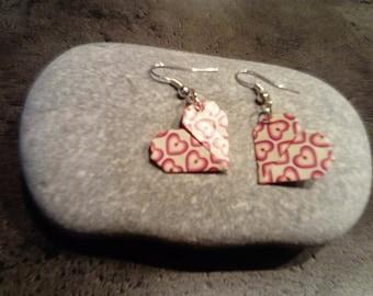 origami earrings * hearts * white hearts
