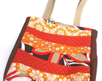 Scrappy Tote Bag, Warm Autumn Colors, Orange, Brown, Gold, Patchwork on Front, Retro Flowers Inside