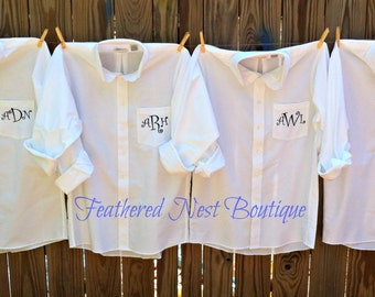 Monogram Bridesmaid Shirt - Monogrammed Bridesmaids Shirt - Bridal Party Prep Shirts - Bridesmaid Gift- Monogrammed Boyfriend Shirt
