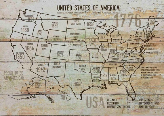 "Map of USA 1776-10. Canvas Print by Irena Orlov 24"" X 36"", large canvas art print, map canvas print, wall decor, office decor"