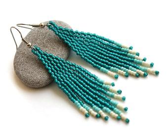 Seed bead dangle earrings Teal dangle earrings Long beaded fringe earrings Dark turquoise earrings with beaded fringe Boho seed bead earring