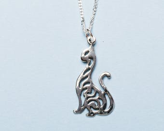 Sterling Silver Cat Necklace | Cat Jewellery | Sterling Silver Jewellery | Cat Gift