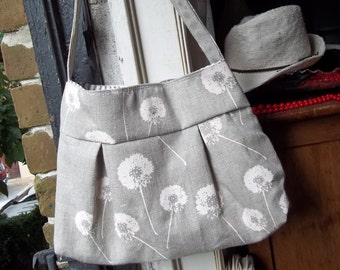 Natural Linen Purse - Dandelions - 3 Pockets - Key Fob - Hand made and Hand Printed