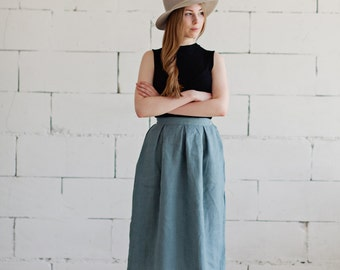 100% Linen Blue Skirt, hand made in London, sustainable, artisan, fashion