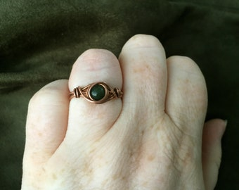 Copper Celtic Ring Size 9 1/2, Nephrite Jade Ring, Viking Ring, Jade Ring, Simple Ring Copper, Viking Jewelry, Norse Ring, Wire Wrapped Ring