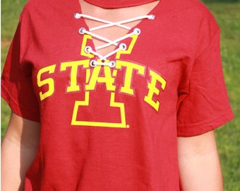 Iowa State lace up tee