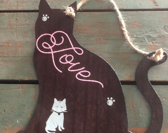 "Recycled flat Roofing Tin Cat Sign ""Love""  by JunkFx"