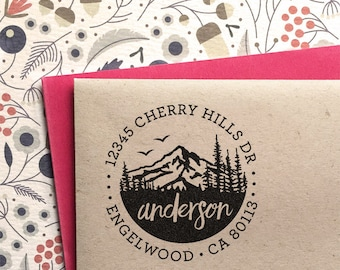 Custom Address Stamp with Mountains, wedding, housewarming, christmas gift, rubber stamp, return address stamp, stocking stuffer