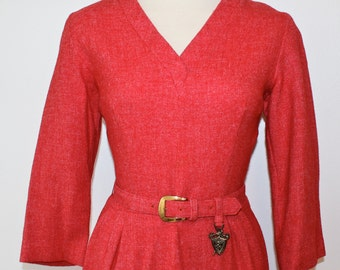 1960s Red Wool Novelty Belt Dress Christmas XS S 0 2 4 60s Gay Gibson Career Belted Vneck 3/4 Sleeves Audrey Hepburn Mad Men Fall Winter