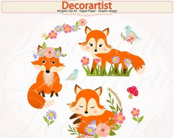 ON SALE Red Fox clip art, Red foxes with flowers clip art,Autumn Foxes clip art, baby fox digital clip art, instant download