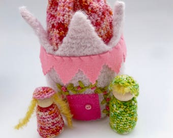 Fairy Princess castle purse with wood peg dolls Waldorf ready to ship